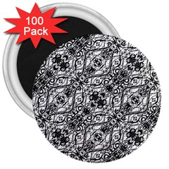 Black And White Ornate Pattern 3  Magnets (100 Pack)