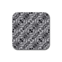Black And White Ornate Pattern Rubber Square Coaster (4 Pack)