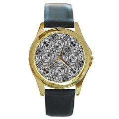 Black And White Ornate Pattern Round Gold Metal Watch