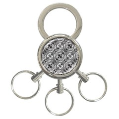 Black And White Ornate Pattern 3 Ring Key Chains