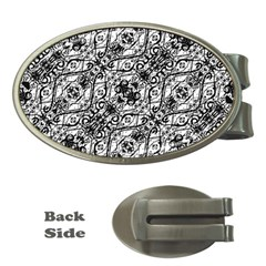 Black And White Ornate Pattern Money Clips (oval)