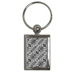 Black And White Ornate Pattern Key Chains (rectangle)