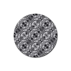 Black And White Ornate Pattern Rubber Coaster (round)
