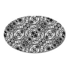 Black And White Ornate Pattern Oval Magnet