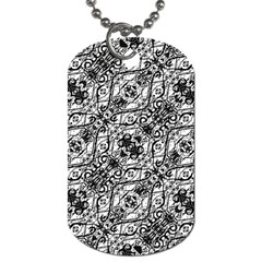Black And White Ornate Pattern Dog Tag (two Sides)