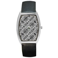Black And White Ornate Pattern Barrel Style Metal Watch
