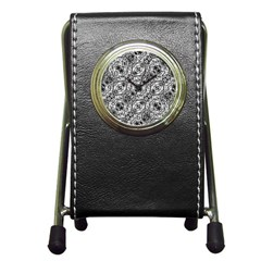 Black And White Ornate Pattern Pen Holder Desk Clocks