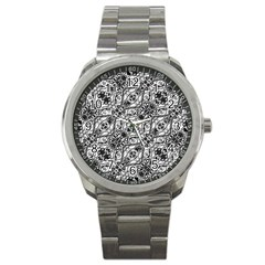 Black And White Ornate Pattern Sport Metal Watch