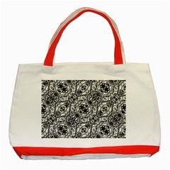 Black And White Ornate Pattern Classic Tote Bag (red)