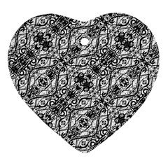Black And White Ornate Pattern Heart Ornament (two Sides)