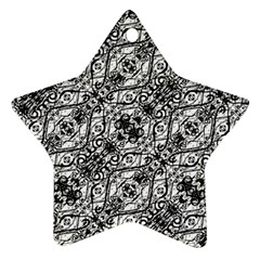 Black And White Ornate Pattern Star Ornament (two Sides)