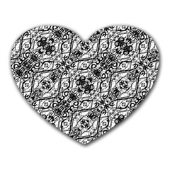 Black And White Ornate Pattern Heart Mousepads