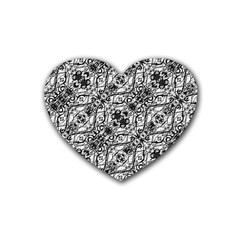 Black And White Ornate Pattern Heart Coaster (4 Pack)