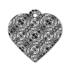 Black And White Ornate Pattern Dog Tag Heart (one Side)
