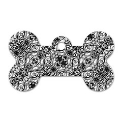 Black And White Ornate Pattern Dog Tag Bone (two Sides)