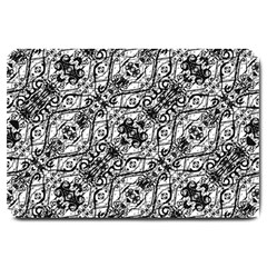 Black And White Ornate Pattern Large Doormat