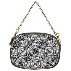Black And White Ornate Pattern Chain Purses (one Side)
