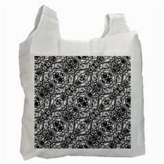 Black And White Ornate Pattern Recycle Bag (one Side)
