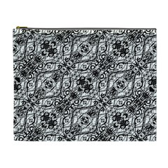 Black And White Ornate Pattern Cosmetic Bag (xl)