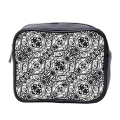 Black And White Ornate Pattern Mini Toiletries Bag 2 Side
