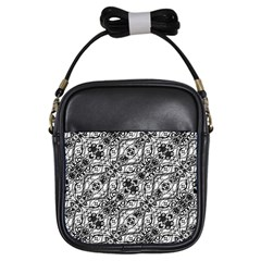 Black And White Ornate Pattern Girls Sling Bags