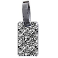 Black And White Ornate Pattern Luggage Tags (one Side)