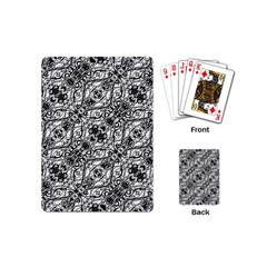 Black And White Ornate Pattern Playing Cards (mini)