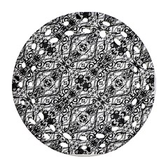 Black And White Ornate Pattern Round Filigree Ornament (two Sides)