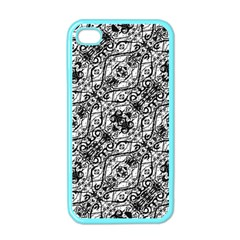 Black And White Ornate Pattern Apple Iphone 4 Case (color)