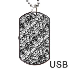 Black And White Ornate Pattern Dog Tag Usb Flash (one Side)