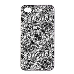 Black And White Ornate Pattern Apple Iphone 4/4s Seamless Case (black)