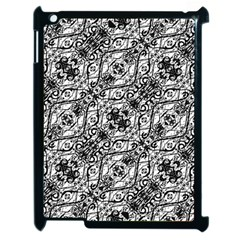 Black And White Ornate Pattern Apple Ipad 2 Case (black)