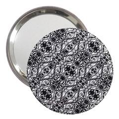 Black And White Ornate Pattern 3  Handbag Mirrors