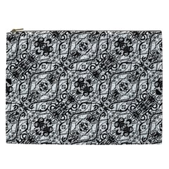 Black And White Ornate Pattern Cosmetic Bag (xxl)