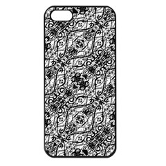 Black And White Ornate Pattern Apple Iphone 5 Seamless Case (black)