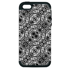 Black And White Ornate Pattern Apple Iphone 5 Hardshell Case (pc+silicone)