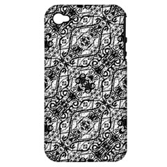 Black And White Ornate Pattern Apple Iphone 4/4s Hardshell Case (pc+silicone)