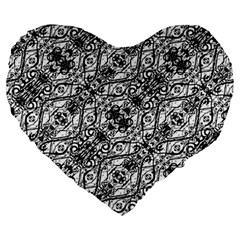Black And White Ornate Pattern Large 19  Premium Heart Shape Cushions
