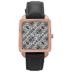 Black And White Ornate Pattern Rose Gold Leather Watch