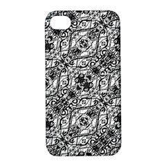 Black And White Ornate Pattern Apple Iphone 4/4s Hardshell Case With Stand