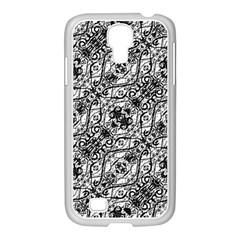 Black And White Ornate Pattern Samsung Galaxy S4 I9500/ I9505 Case (white)