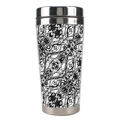 Black And White Ornate Pattern Stainless Steel Travel Tumblers