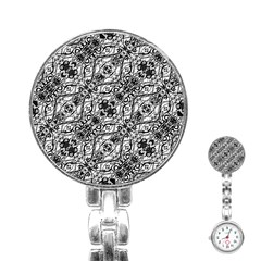 Black And White Ornate Pattern Stainless Steel Nurses Watch