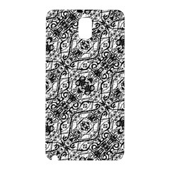 Black And White Ornate Pattern Samsung Galaxy Note 3 N9005 Hardshell Back Case