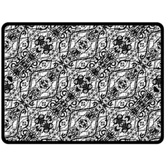 Black And White Ornate Pattern Double Sided Fleece Blanket (large)