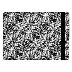 Black And White Ornate Pattern Samsung Galaxy Tab Pro 12 2  Flip Case