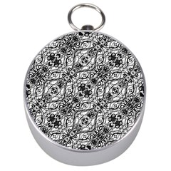 Black And White Ornate Pattern Silver Compasses