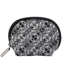 Black And White Ornate Pattern Accessory Pouches (small)