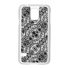 Black And White Ornate Pattern Samsung Galaxy S5 Case (white)