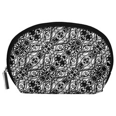 Black And White Ornate Pattern Accessory Pouches (large)